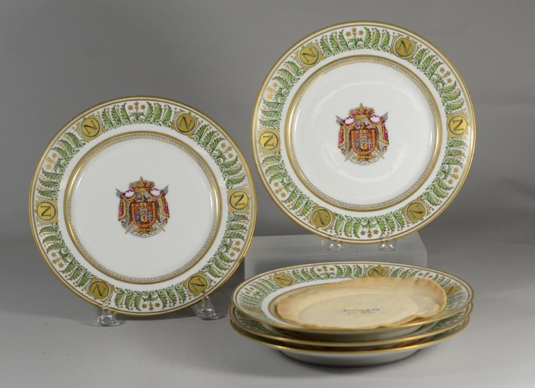 (5) Sevres style Napoleon armorial cabinet plates