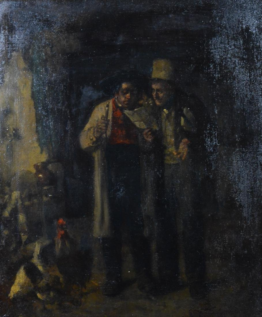 Carl Karger, painting of two men in a barn