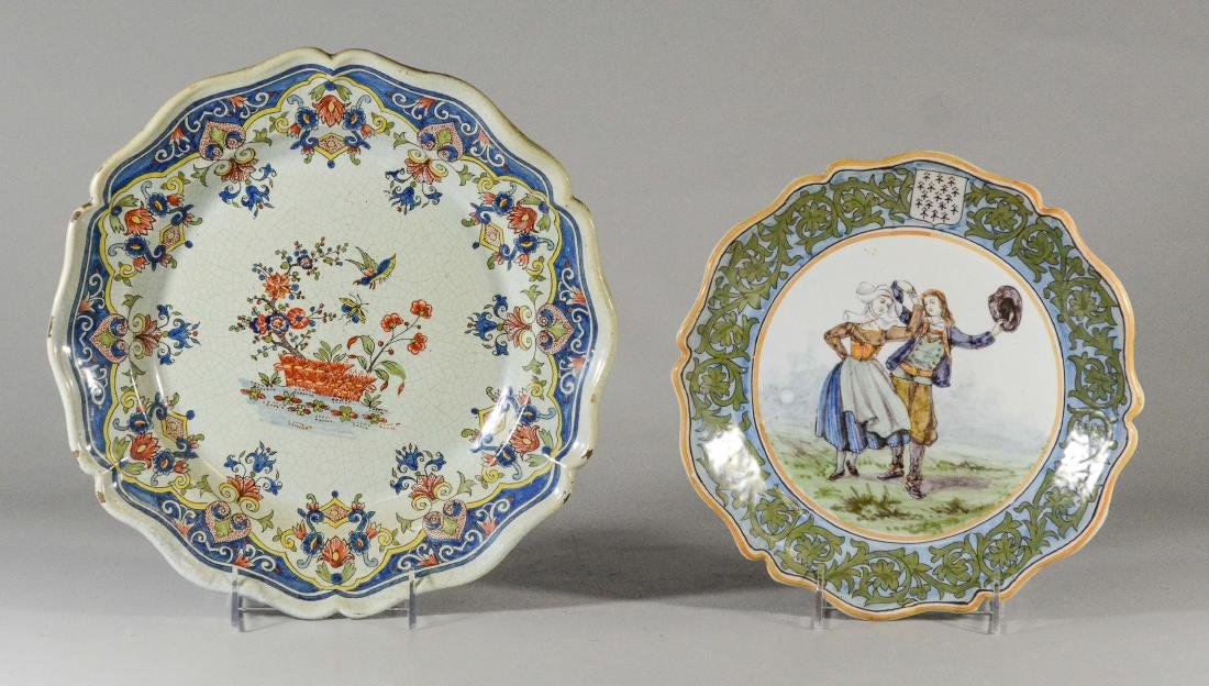 (2) tin glazed Continental round scalloped plates