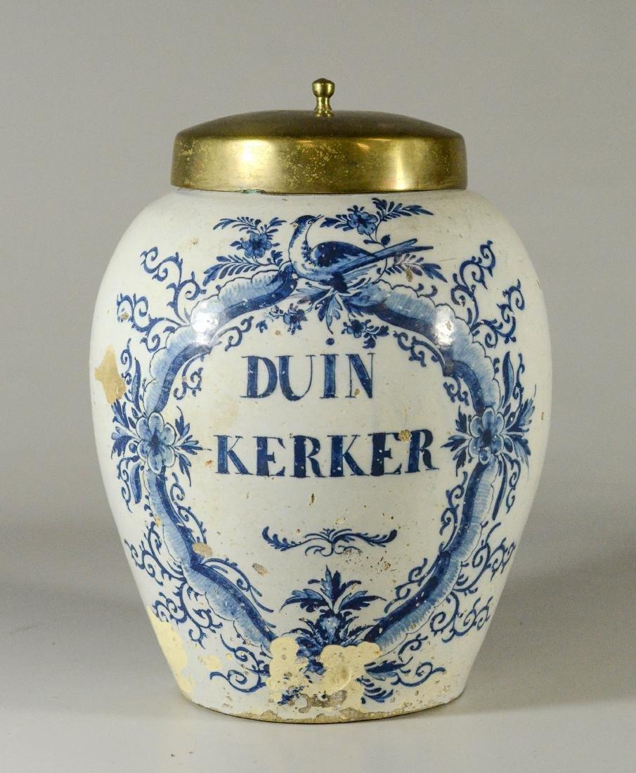 Dutch tin glazed jar with brass lid, Duin Kerker