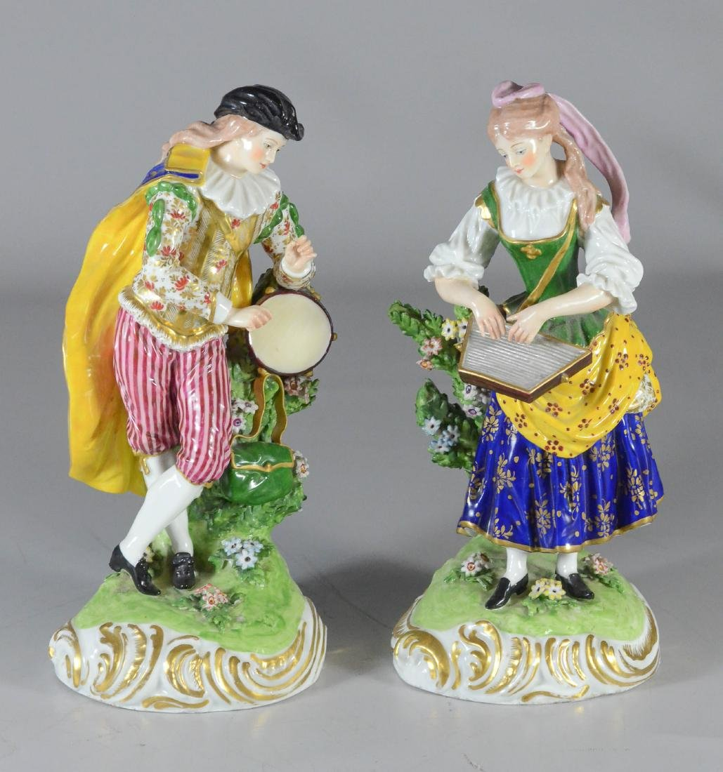 Pair of Derby figures of musicians, circa 1780-1784,