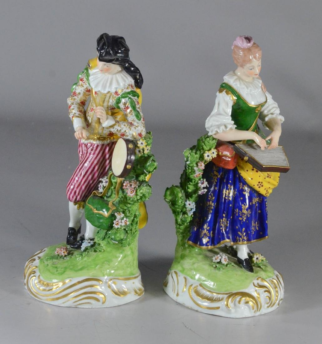 Pair of Derby figures of musicians, circa 1780-1784, - 3
