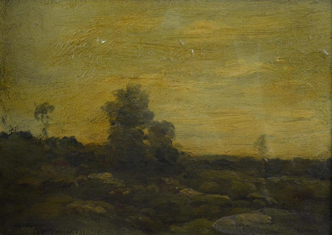 19th c European landscape painting, illegibly signed