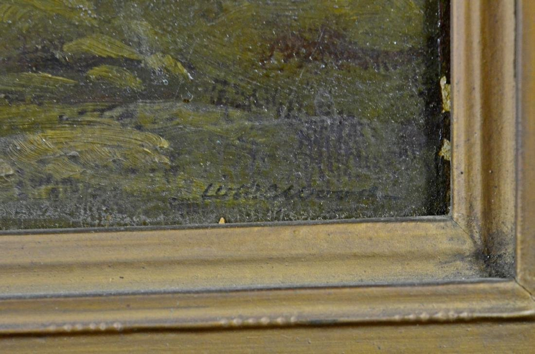 19th c European landscape painting, illegibly signed - 3