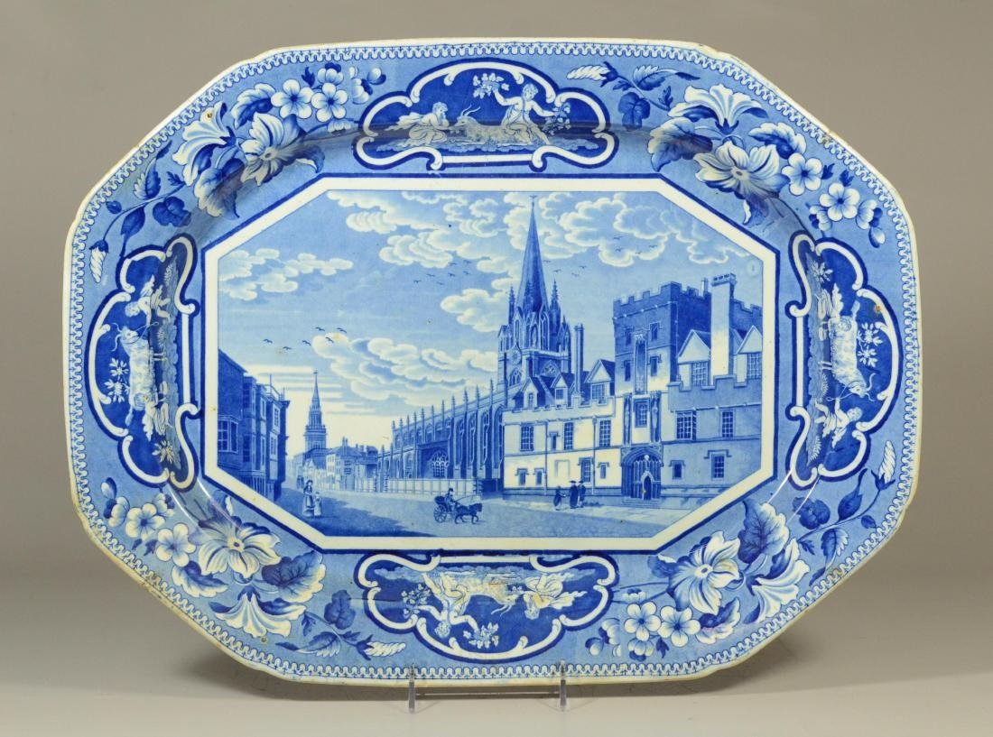 J&W Ridgway Staffordshire blue transfer platter