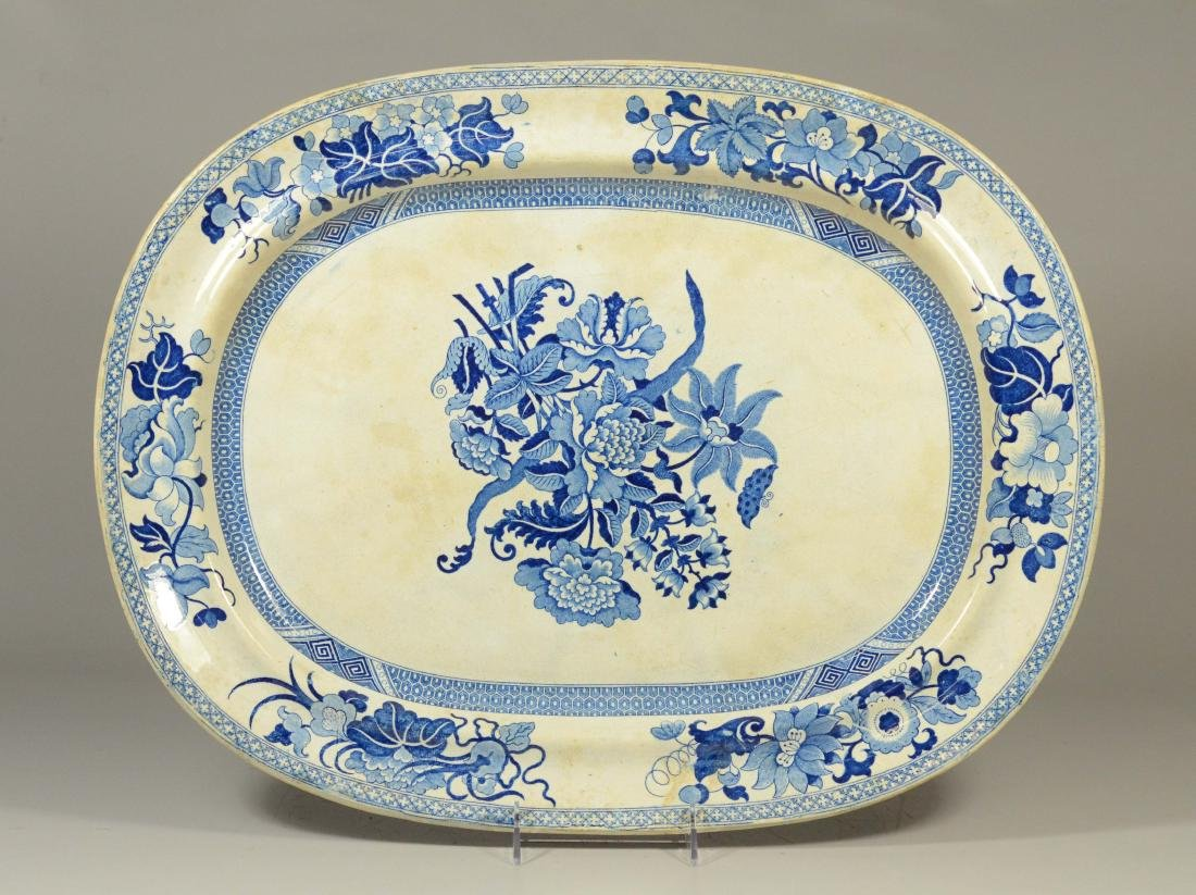 Oval blue transfer Staffordshire platter