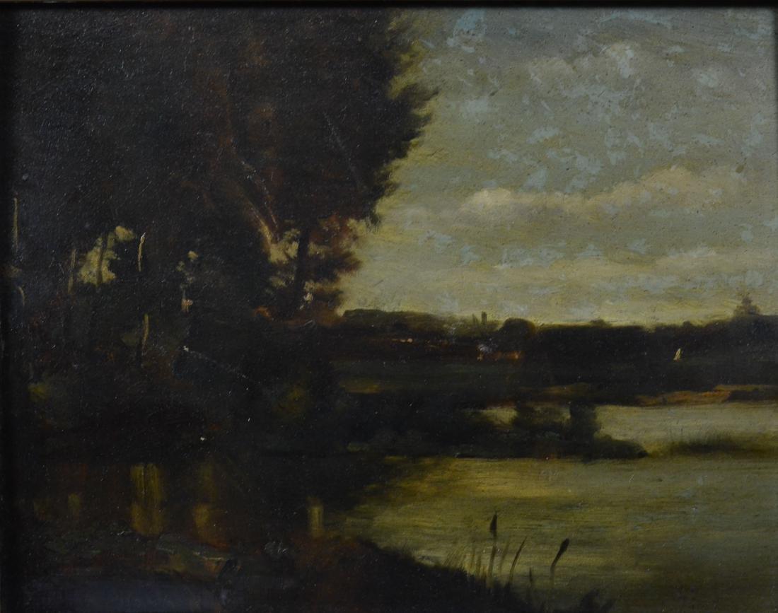 Emile Charles Lambinet, oil on wood panel landscape