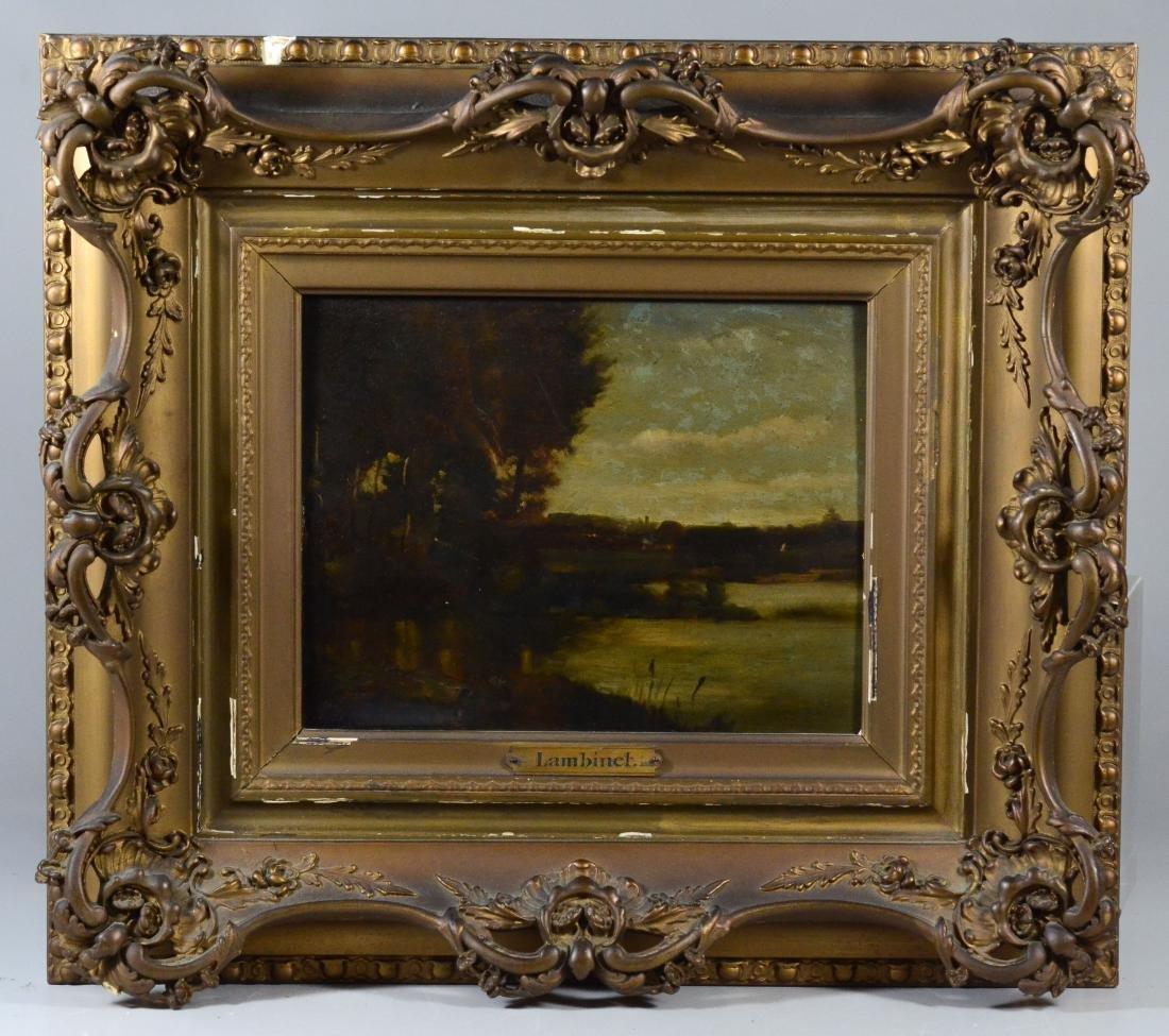 Emile Charles Lambinet, oil on wood panel landscape - 2