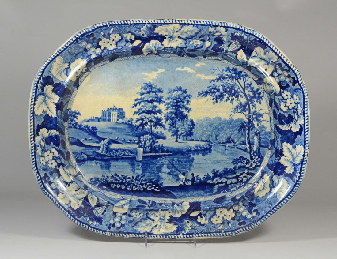 Lambton Hall, blue transfer Staffordshire platter