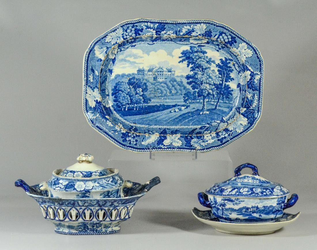 (5) pcs blue Transfer Staffordshire