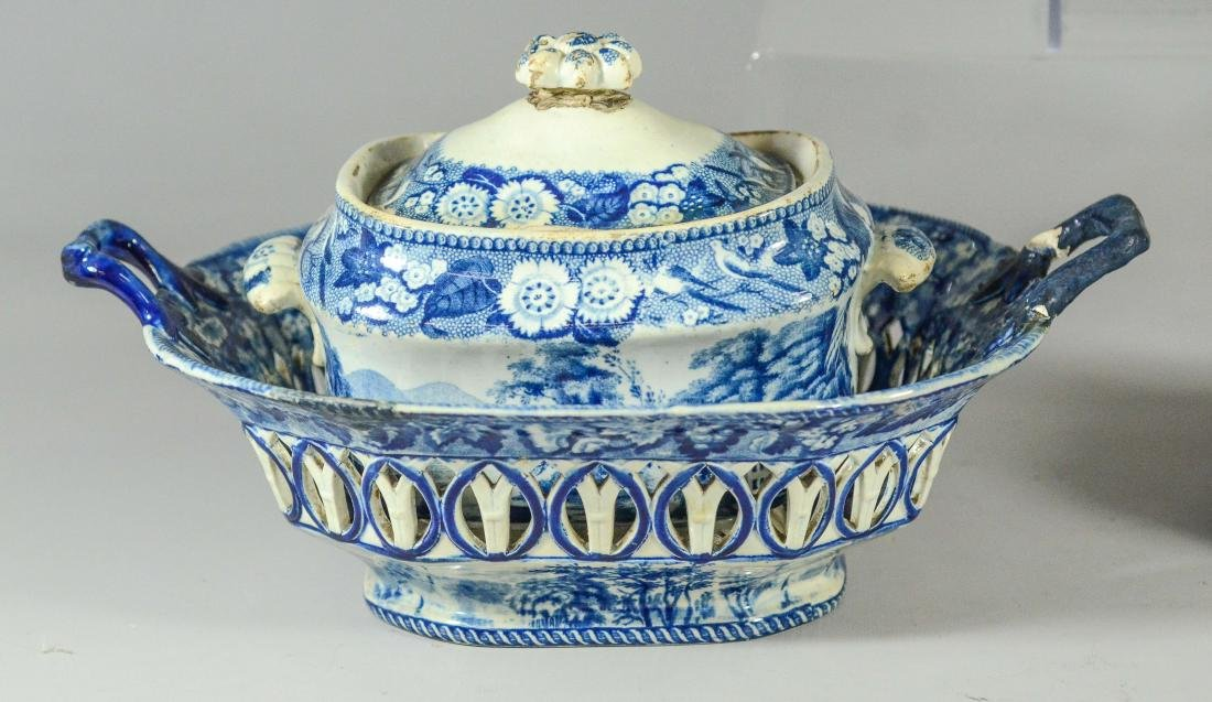 (5) pcs blue Transfer Staffordshire - 3