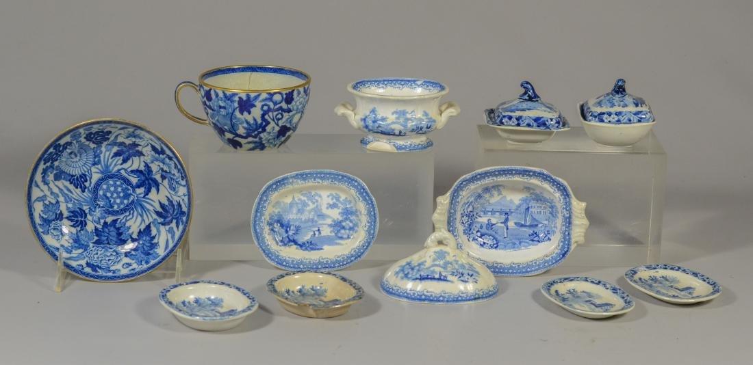 (13) blue transfer Staffordshire plates, Asian scene - 10