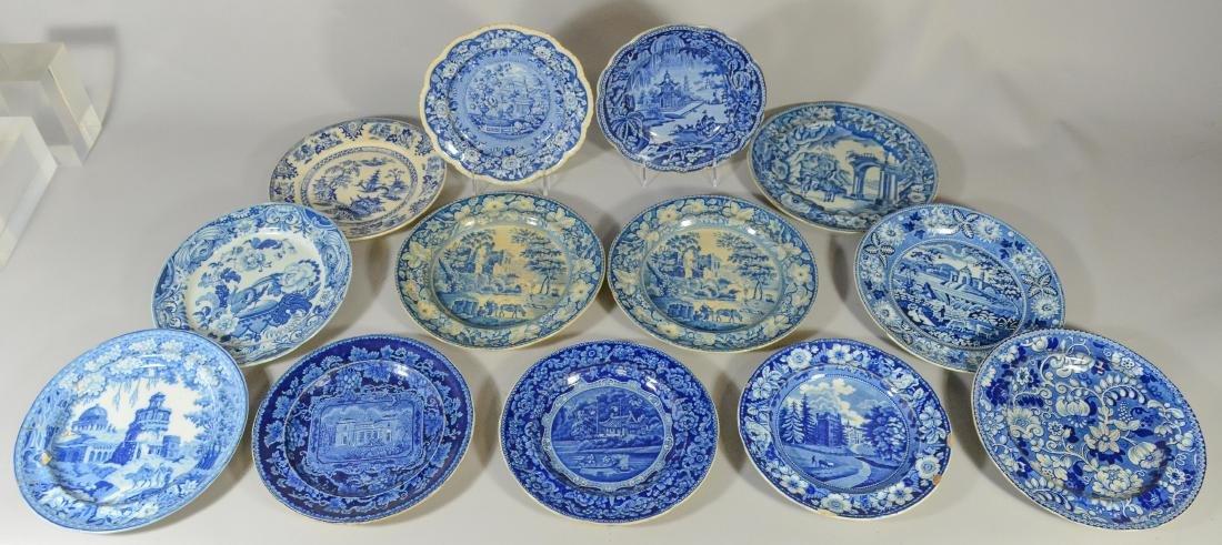 (13) blue transfer Staffordshire plates, Asian scene