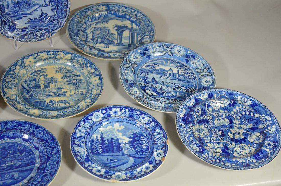 (13) blue transfer Staffordshire plates, Asian scene - 2
