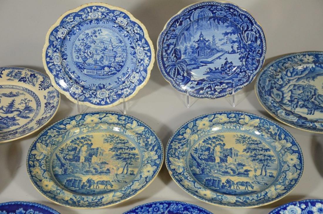 (13) blue transfer Staffordshire plates, Asian scene - 3