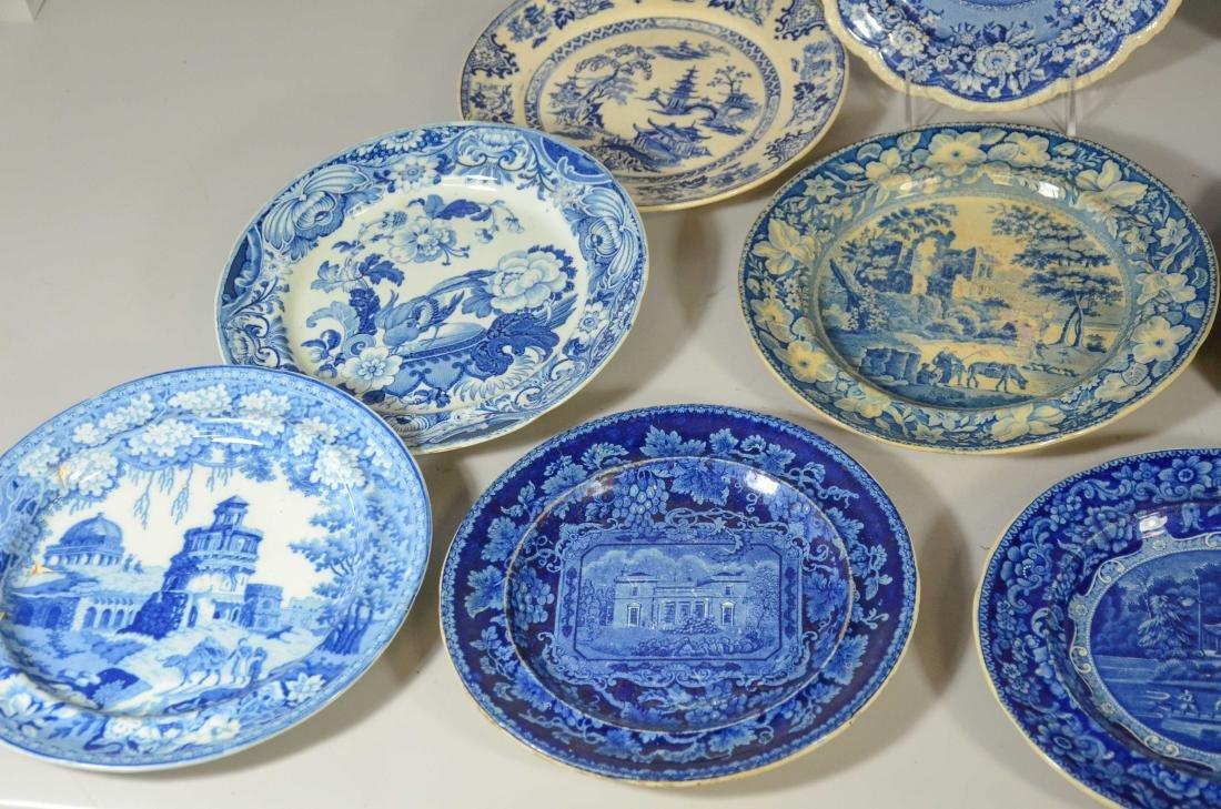 (13) blue transfer Staffordshire plates, Asian scene - 4