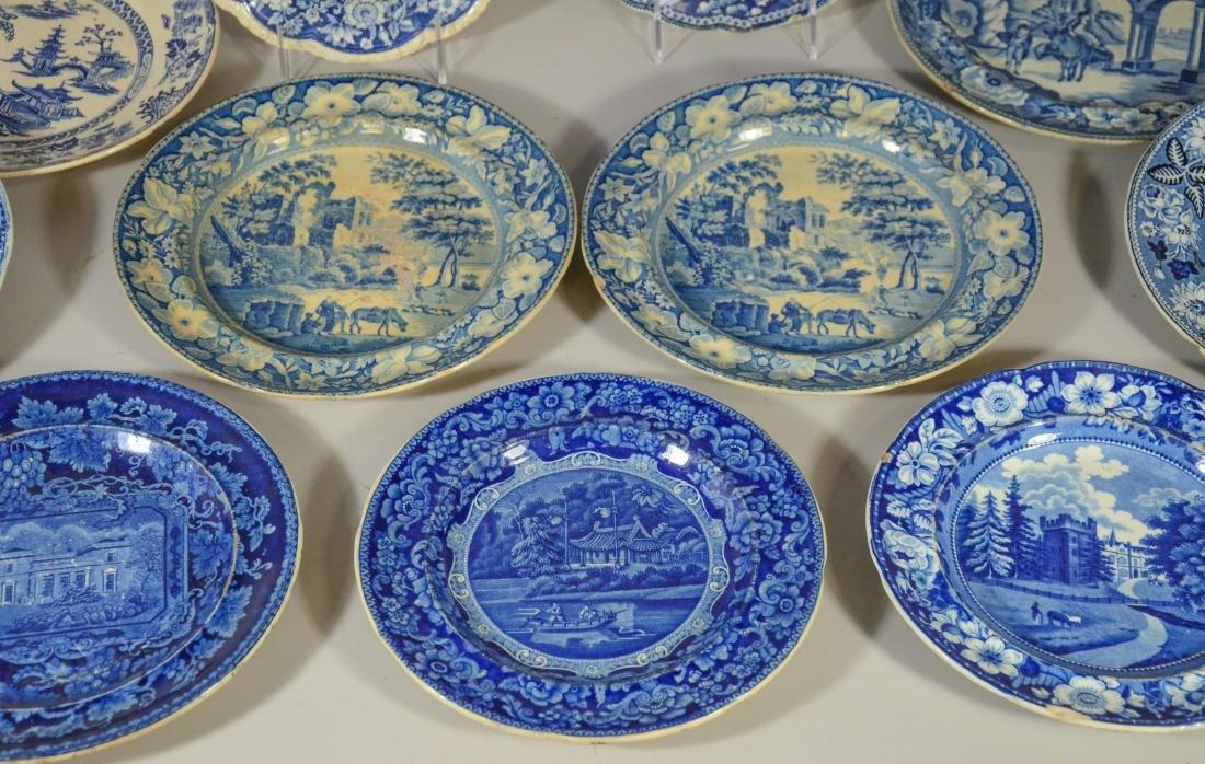 (13) blue transfer Staffordshire plates, Asian scene - 5