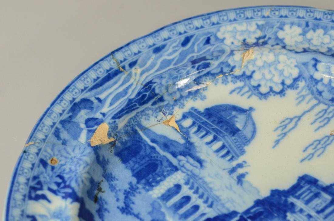 (13) blue transfer Staffordshire plates, Asian scene - 7
