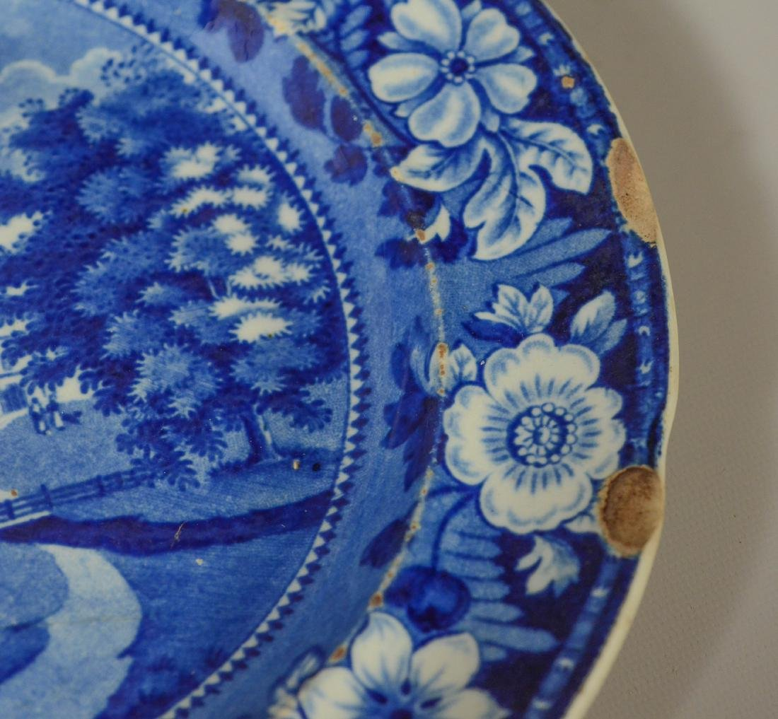 (13) blue transfer Staffordshire plates, Asian scene - 8