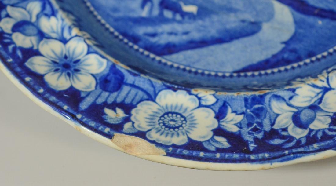 (13) blue transfer Staffordshire plates, Asian scene - 9