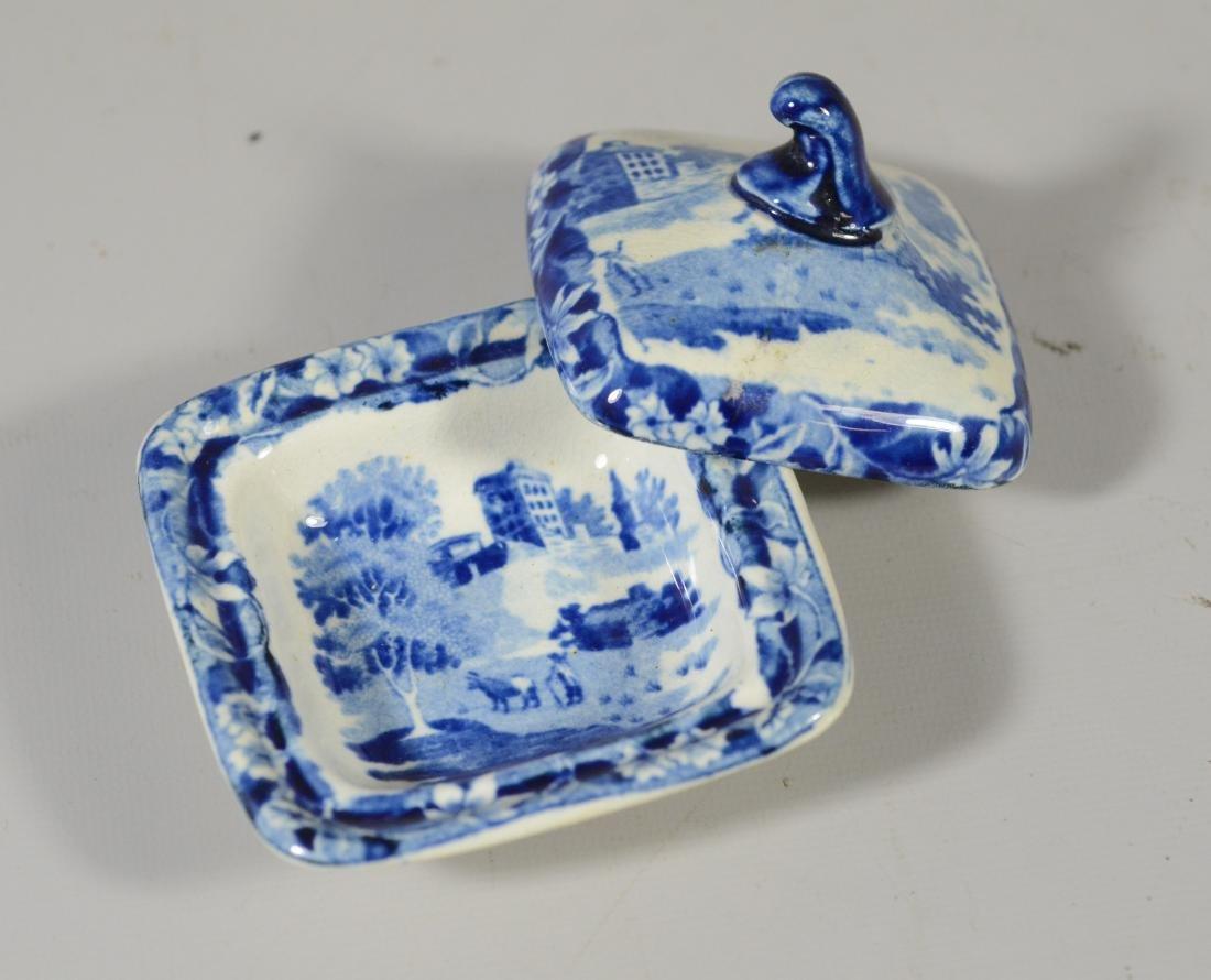 9 pcs miniature blue transfer Staffordshire - 11