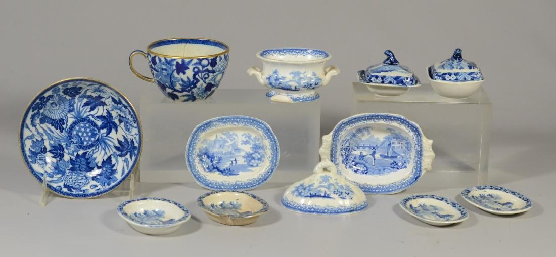 9 pcs miniature blue transfer Staffordshire
