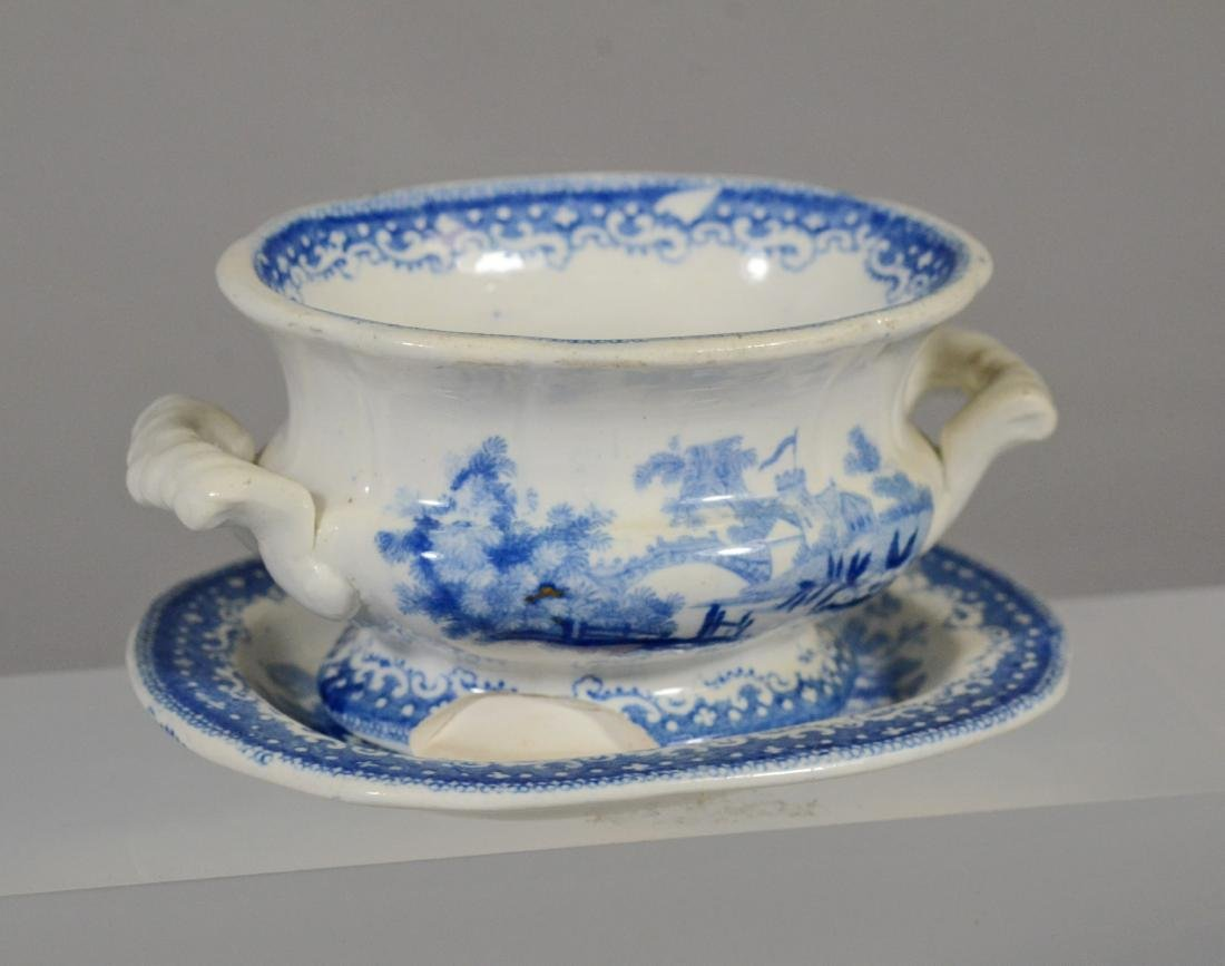 9 pcs miniature blue transfer Staffordshire - 5