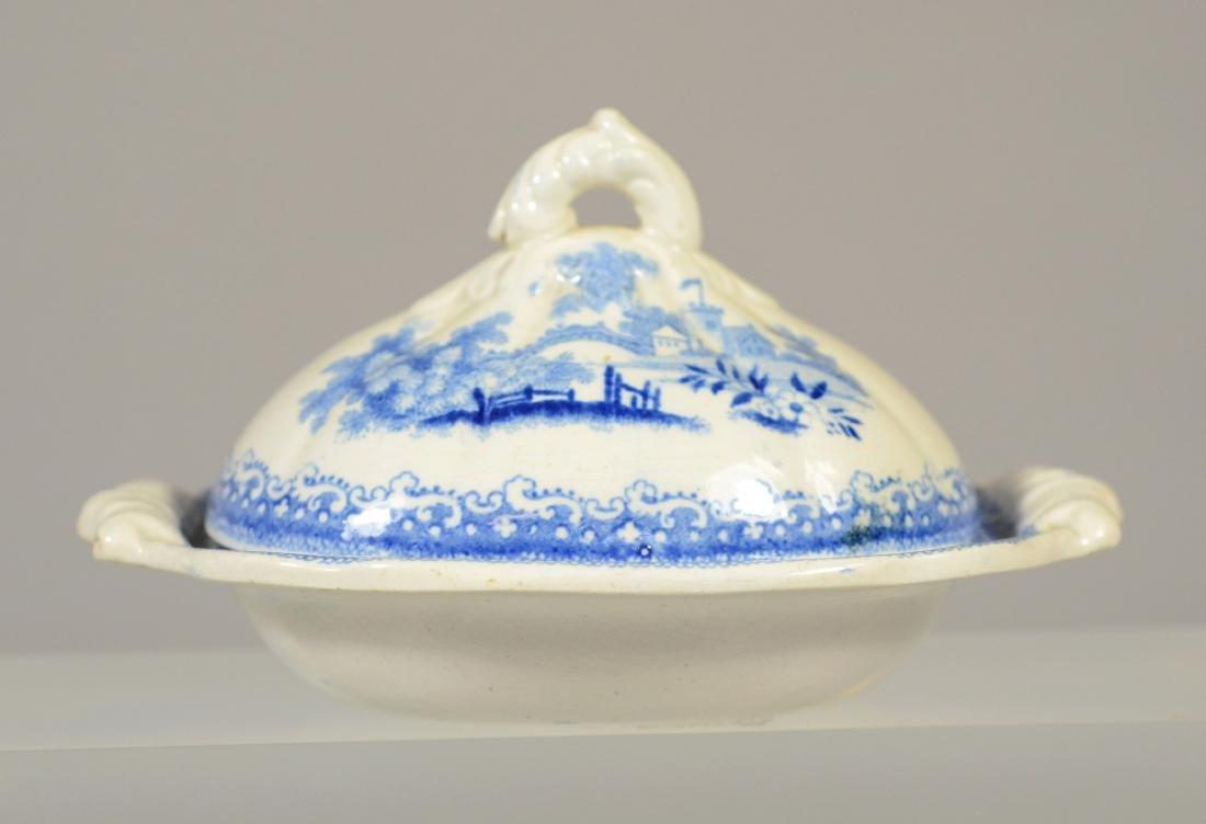 9 pcs miniature blue transfer Staffordshire - 6