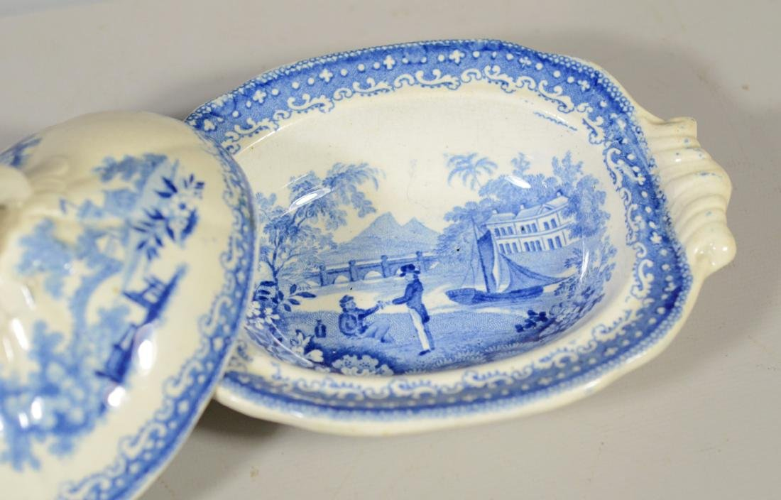 9 pcs miniature blue transfer Staffordshire - 7