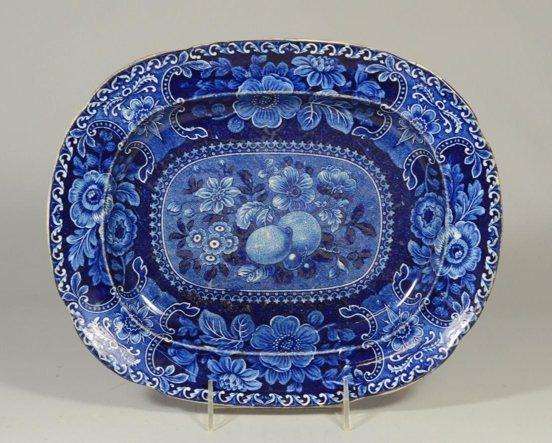 Dark blue transfer Staffordshire platter