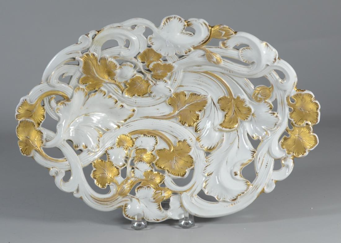 Oval gilt Meissen porcelain pierced center bowl
