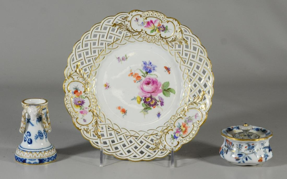 (3) Meissen porcelain tableware items