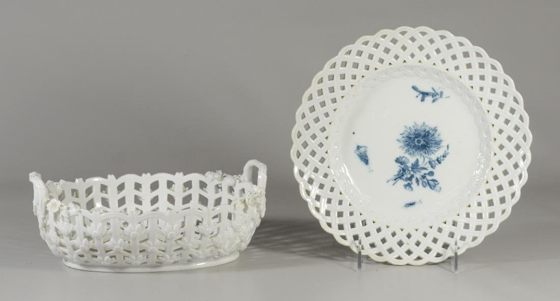 Meissen Marcolini porcelain oval basket & plate