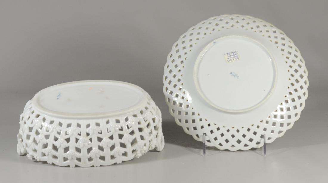 Meissen Marcolini porcelain oval basket & plate - 2
