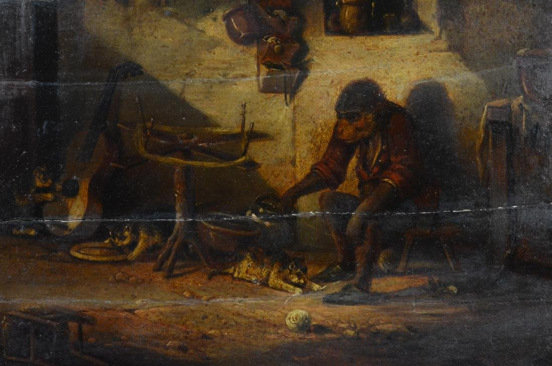 18th C Singerie painting of domestic monkey with cats