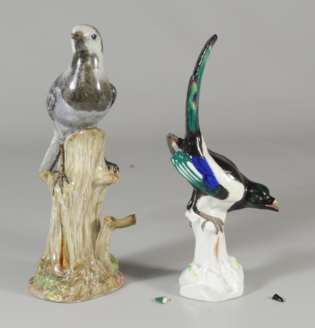 (2) Meissen bird figurines, dove & blackbird