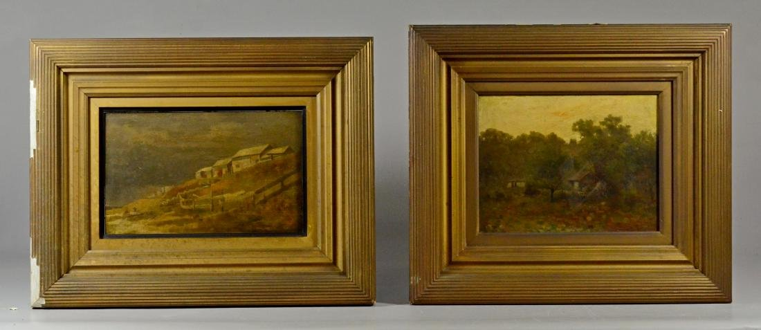 Pair antique landscape paintings, illegibly signed