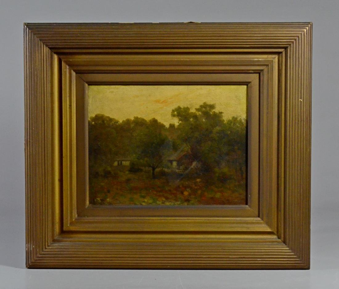Pair antique landscape paintings, illegibly signed - 3