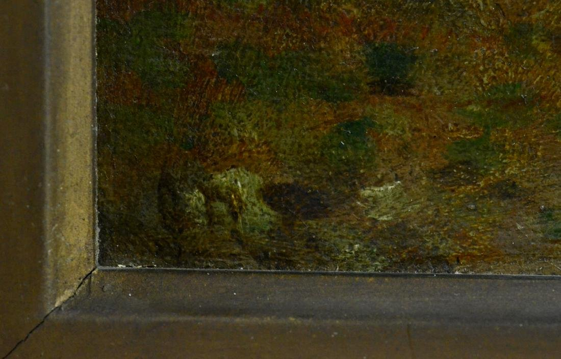 Pair antique landscape paintings, illegibly signed - 4
