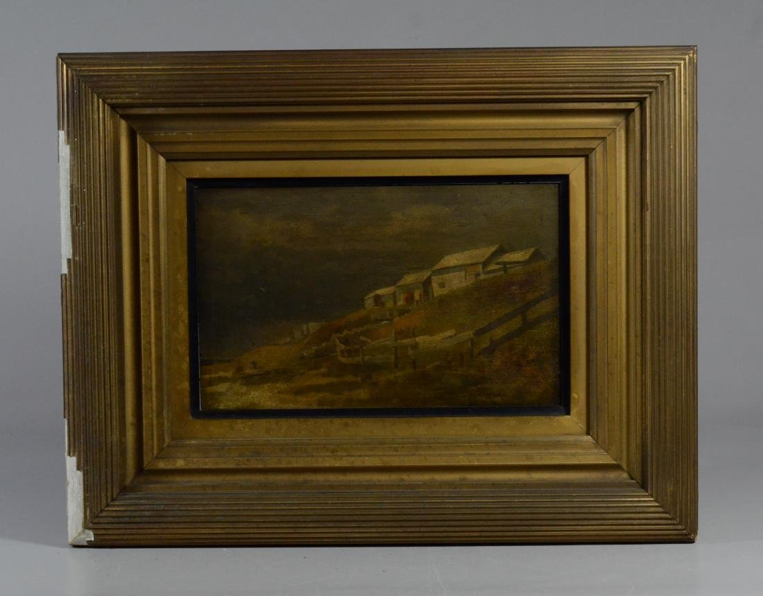 Pair antique landscape paintings, illegibly signed - 8