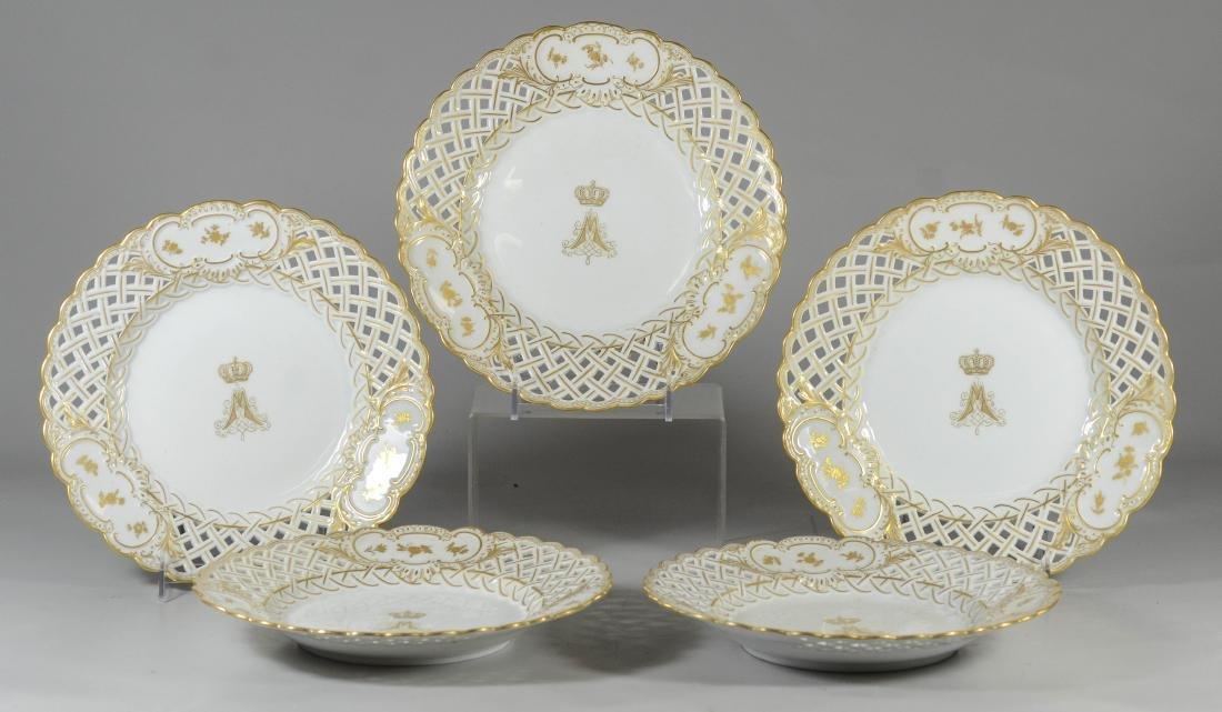 (5) Meissen porcelain gilt decorated plates