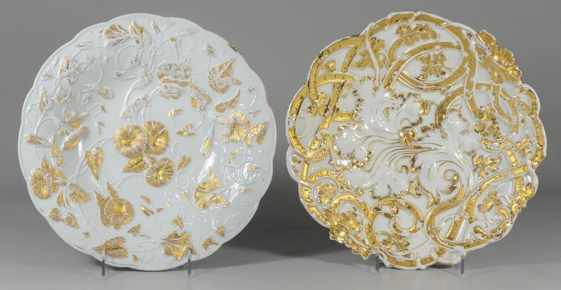 (2) Meissen porcelain round gilt decorated bowls