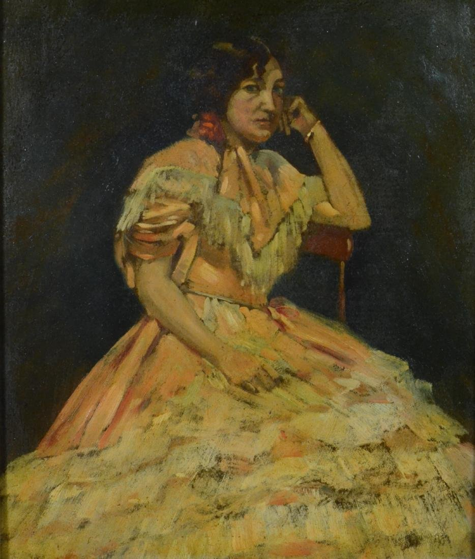 Antique portrait painting of a seated lady, unsigned