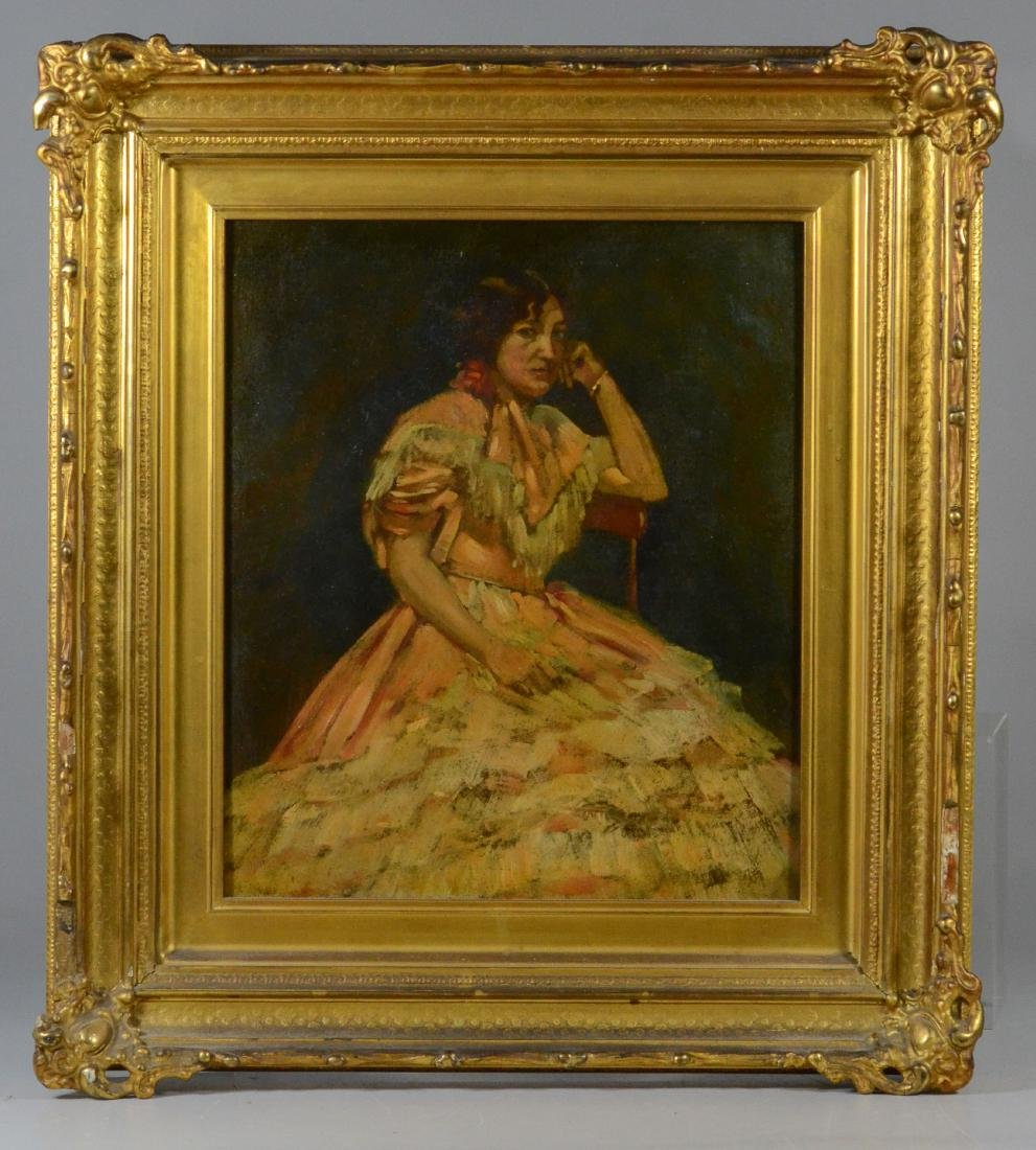 Antique portrait painting of a seated lady, unsigned - 2