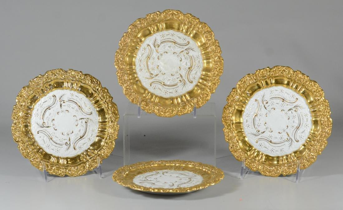 (4) Meissen porcelain round gilt decorated plates