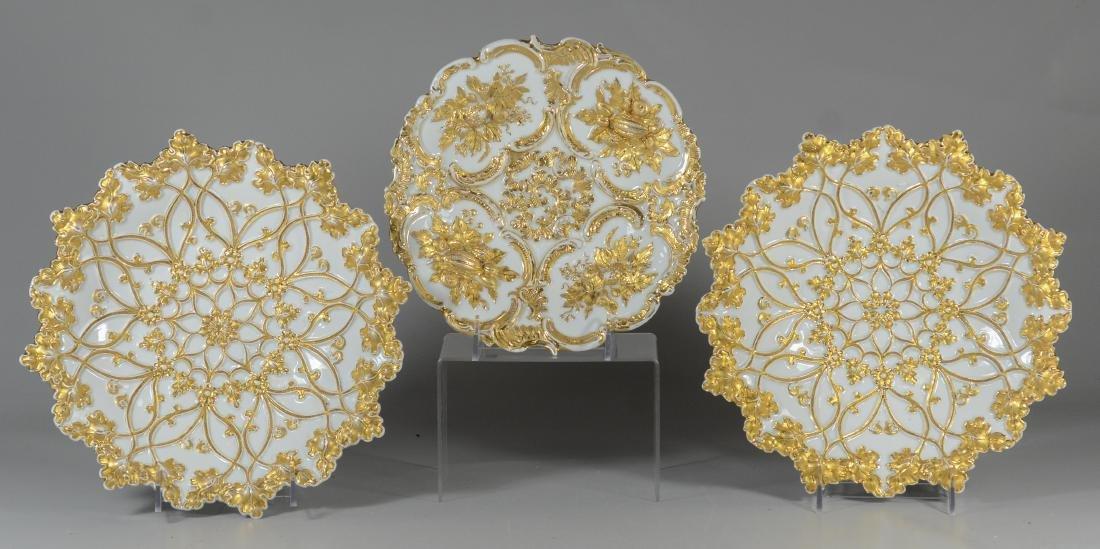 (3) Meissen porcelain round gilt decorated bowls