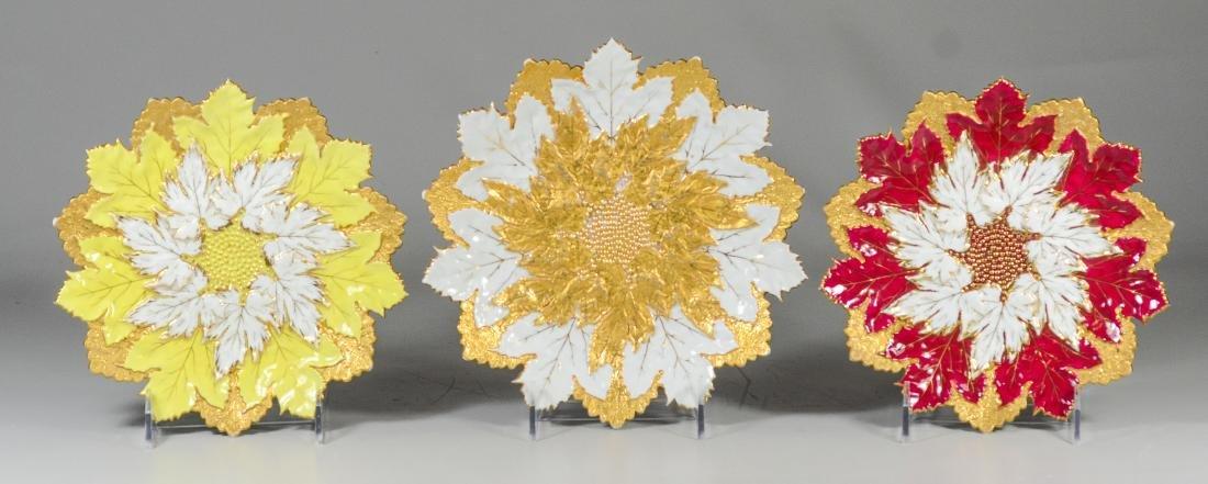 (3) Meissen porcelain round leaf plates