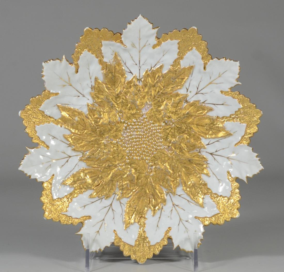 (3) Meissen porcelain round leaf plates - 2