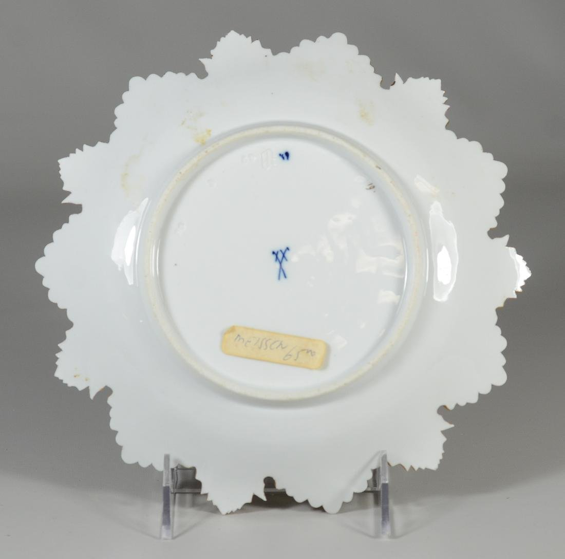 (3) Meissen porcelain round leaf plates - 3