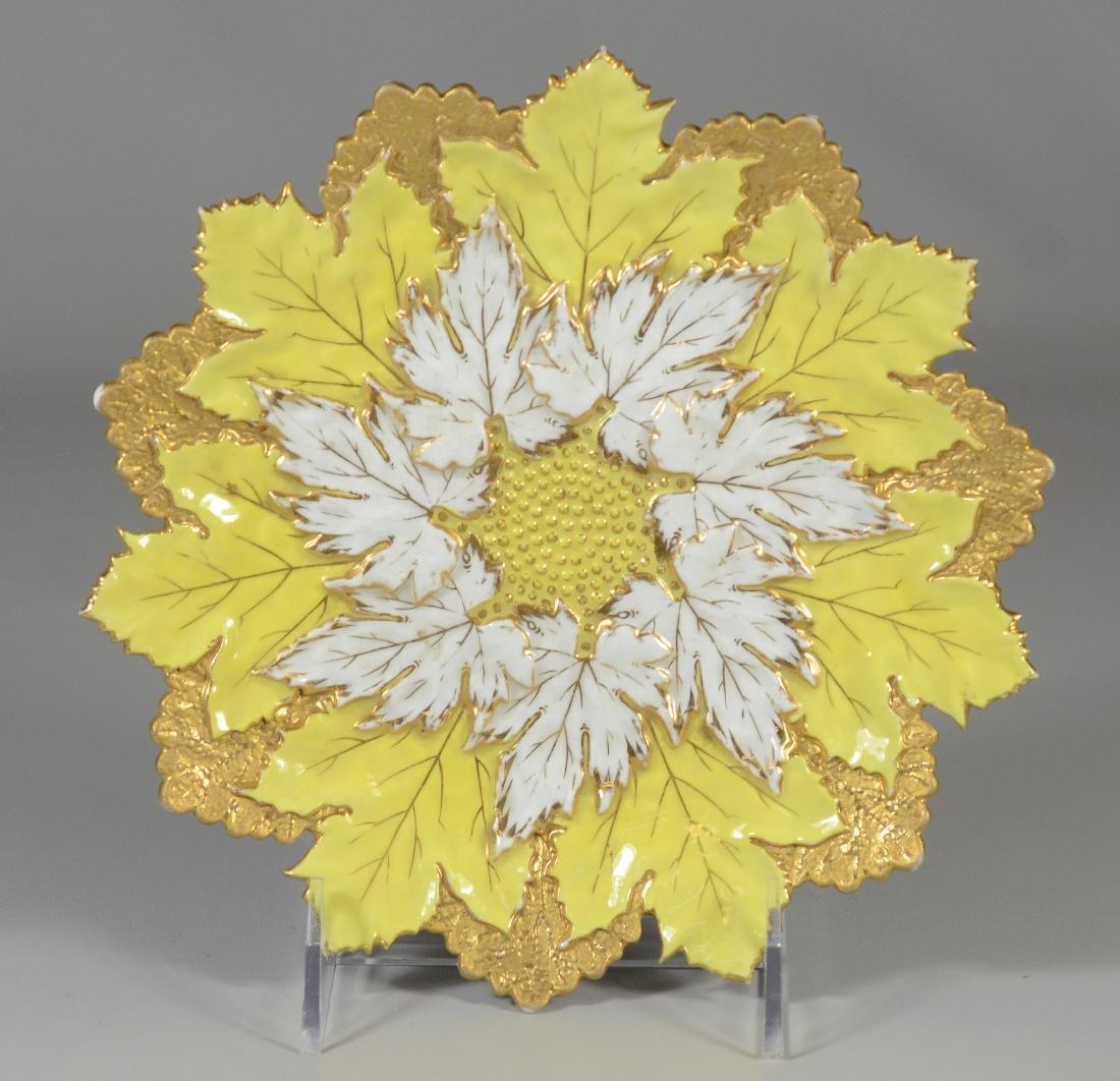 (3) Meissen porcelain round leaf plates - 4